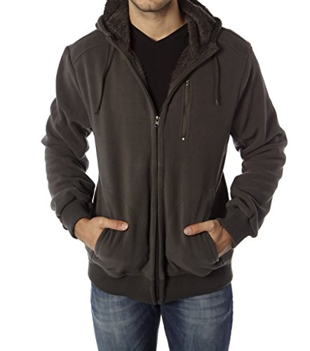 Vertical Sport Men's Sherpa lining polar fleeced hoodie(Grey,medium) (Hood Fz)