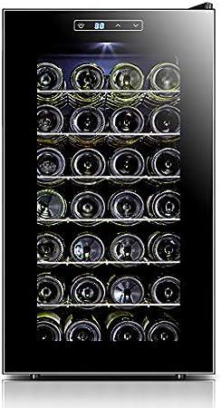 LUUDE Wine Cooler Frigorífico, Temperatura y Humedad constantes gabinete del Vino, Negro, 28 Botellas (6 estantes, 1 de Puerta),Stainless Steel
