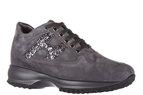 Hogan Womens Shoes Suede Trainers Sneakers Interactive Grey 5kmAyHvP