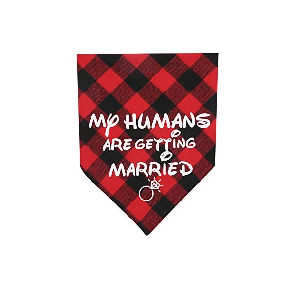 KZHAREEN 2 Pack My Humans are Getting Married Dog Bandana Printing Plaid Wedding Reversible Triangle Bibs Scarf Accessories for Dogs Cats 2