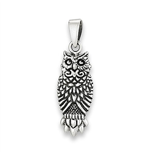 (Ornate Owl Pendant .925 Sterling Silver Animal Filigree Feather Fancy Charm Jewelry Making Supply Pendant Bracelet DIY Crafting by Wholesale Charms)