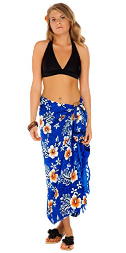 1 World Sarongs Womens Hibiscus Flower Cover-Up Sarong in Royal Blue/White