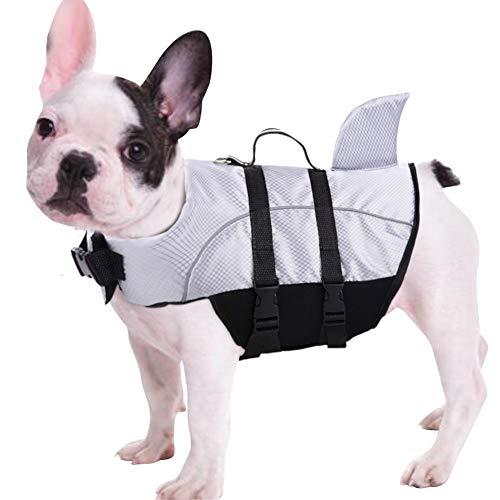 Queenmore Ripstop Dog Life Jacket, Shark Life Vest for Dogs, Size Adjustable Lifesaver Safety Jacket, Pet Saver Vest Coat Flotation Float Aid Buoyancy(Grey XS)