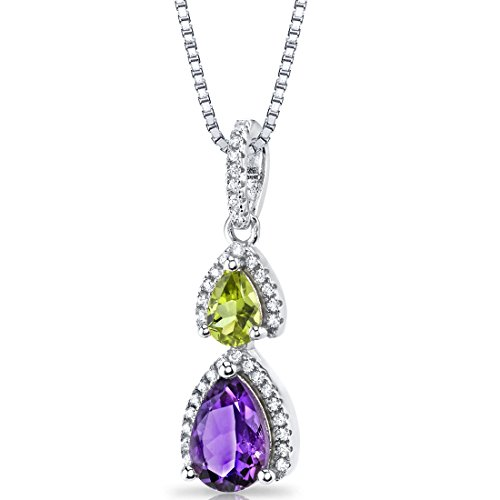 Peora College Graduation Necklace for Her, Sterling Silver Pendant, Natural Amethyst and Peridot, 18 inch Chain