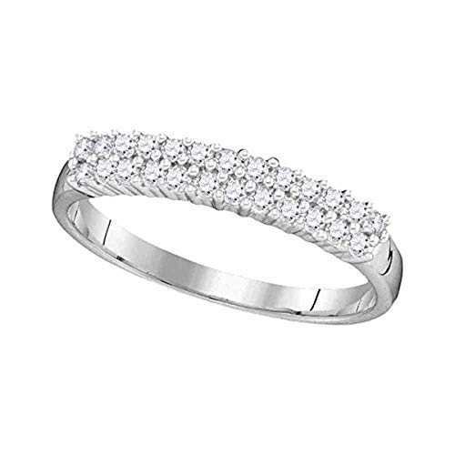 Roy Rose Jewelry 10K White Gold Womens Round Prong-set Diamond Double Row Band 1/3-Carat tw