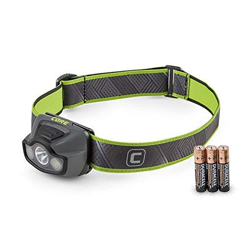 CORE 175 Lumen CREE LED Headlamp, High+Low+Flood+Red Modes, Adjustable, Lightweight, Water Resistant, 3AAA Batteries (Included)