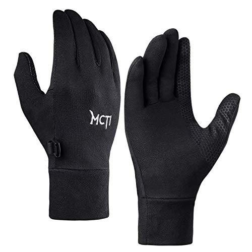 MCTi Glove Liner Touch Screen Lightweight for Winter Running Texting Black Large ()