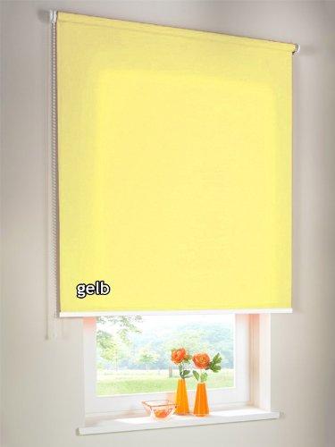 Sichtschutzrollo Seitenzugrollo Kettenzugrollo Rollo Sichtschutz 52 x 150 cm / 52x150 cm gelb - Bedienseite links