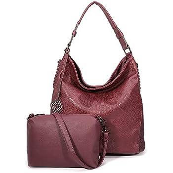 DDDH Women Handbags Hobo Shoulder Bags Tote Leather Handbags Fashion Large  Capacity Bags (Wine) 558d953ff3f5e
