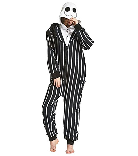 Tri-Better Jack Skellington Onesie Anime Pajamas Hooded Kigurumi Unisex Cosplay Costumes