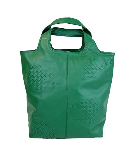 Bottega Veneta Green Woven Detail Leather Tote Bag 297981 (Bottega Veneta Woven Handbag)