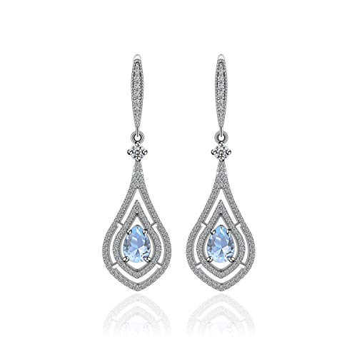 ings for Women - MYKEA Sterling Silver Teardrop Crystal Rhinestones Cubic Zirconia Earrings Dangling for Mother,Wife, Bride,Bridesmaids Party Gift (Baby Blue) ()