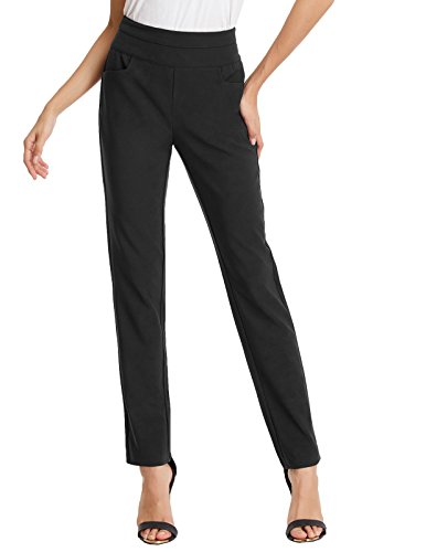 Kate Kasin Casual Slim Fitted Ankle Pants with Pocket for Women Black XXL,KKAF1017-2 by Kate Kasin