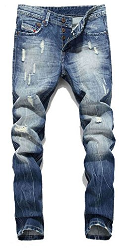 - Tomblin Men's Ripped Skinny Distressed Destroyed Straight Fit Zipper Biker Jeans with Holes (W32, A)