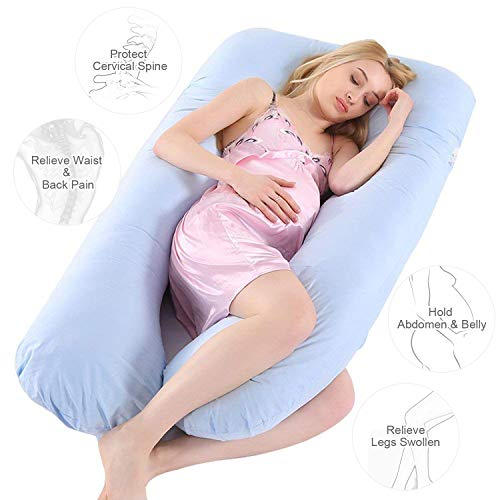"Wannafree Full Body Pregnancy Pillow – 55""/60"" Maternity Pillow for Pregnant Women – Comfort U Shaped Body Zootzi Pillow (55 inch, Blue)"