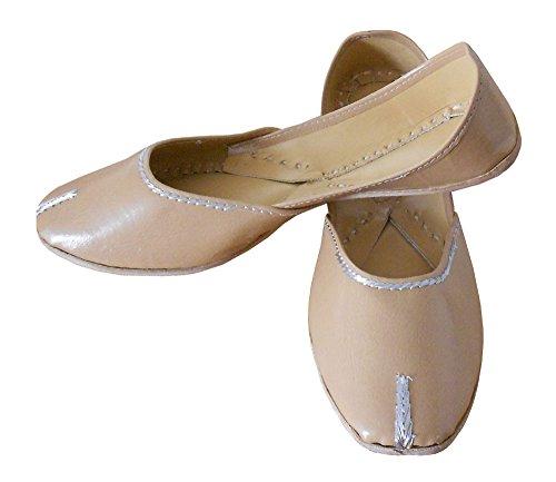 KALRA Creations Traditionelle Handgemachte Kunstleder indischen Damen Ballerinas, Elfenbein - cremefarben - Größe: 41,5 EU M