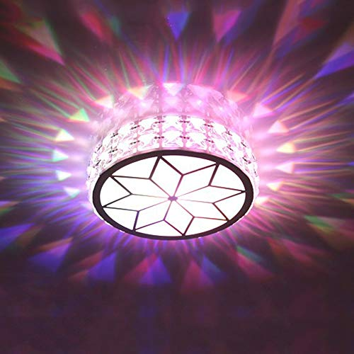 (LED Small Crystal Ceiling Light, Modern Creative Round White Acrylic Lampshade Ceiling Lamp, Bedroom Kitchen Attic Hall Hall Balcony Staircase Garden Fixture Lamp, 17cm-9W/21cm-12W Flush Mount)