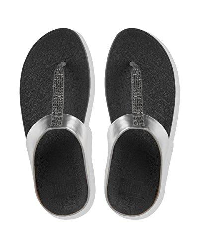 Fitflop Fino Crystal Toe-Thong Sandals - Sandalias de Mujer EN Color Metálico