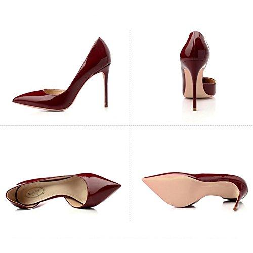 Color Alto Apuntado YIXINY Zapatos PU Poco Lado 10cm De Boca M388 Zapatos Zapatos UK4 5 EU37 Tamaño Vino Talón de Profunda Fine Mujer Rojo Tacón Vacía 5 5 CN37 10cm 5 Goma 8 tacón 10cm Xg8Xnxr
