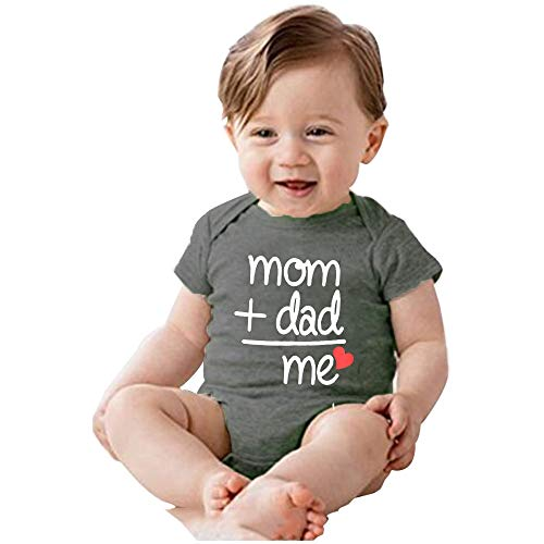 YOUNGER TREE Unisex Newborn Baby Romper Kids Summer Clothes Cotton Cute Funny Letters Print Bodysuits Jumpsuits Outfits (6-12 Months, Mom+dad=me) -