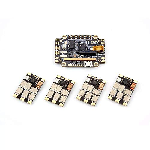 coromose Holybro Kakute F7 AIO F7 Flight Controller w/ OSD BEC Current Sensor & 4 PCS 65A BLheli 32 Tekko32 F3 Metal ESC Combo for RC Drone