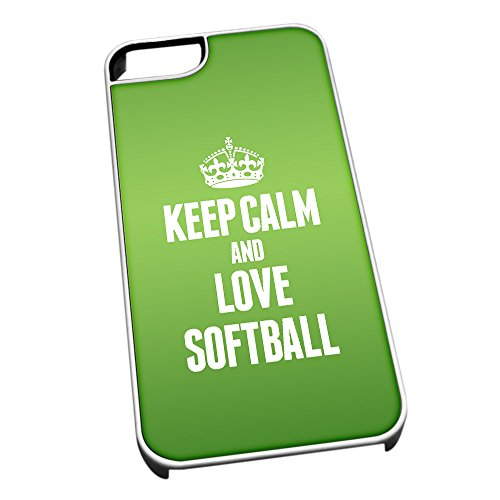 Bianco cover per iPhone 5/5S 1904verde Keep Calm and Love softball