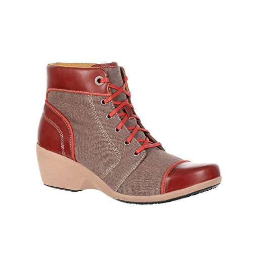 Rocky 4EurSole Forte Womens 5 High Wedge Canvas And Leather Lacer Boot-RKH121