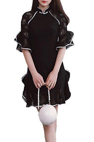 [アフェリン]AFeeling レディース ワンピース チャイナドレス 五分袖 立ち襟 無地 花レース スリムフィット キレイめ ショート丈 おしゃれ 中華ドレス チャイナ服