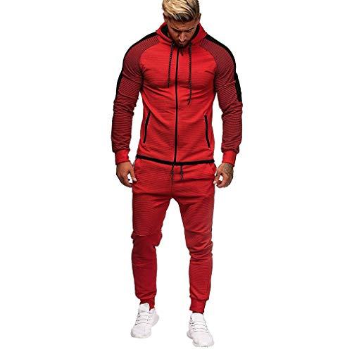STORTO Men's Athletic Tracksuit 2 Piece Hooded Jacket & Pants Full Zip Active wear Sweatsuit Hoodies Set 3 Colors Red