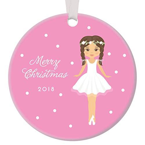 "Merry Christmas 2018 Sugarplum Fairy Ornament Ballerina Pink Ceramic Keepsake Infant Baby Girl Holiday Gift Daughter Ballet Dance Recital Memento 3"" Flat Porcelain w White Ribbon Free Gift Box OR00088"