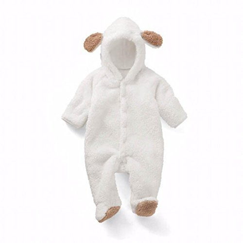 Leoy88 Newborn Baby Infant Boy Girl Rabbit Ear Romper Hooded Jumpsuit Outfits Clothes (70, White)