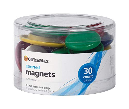 OfficeMax Brand Assorted Size Magnets, Assorted Colors, Pack of 30 ()
