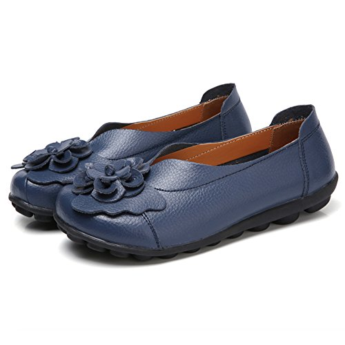SCIEU Women's Leather Loafers Soft Round Toe Moccasins Driving Walking Slip-ONS Flat Shoes Navy tzFRAP