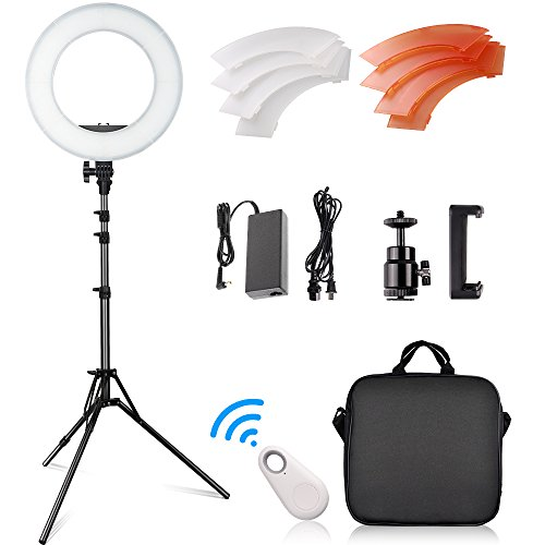 FOSITAN RL-12 LED Dimmable Ring Light 14' Outer/12 on Center with 2 Meter Adjustable Stand, Filter, Cradle Head, Bluetooth Receiver for YouTube, Makeup, Camera/Phone Video Shooting