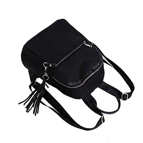 Women Backpack Travel Black For amp; VIASA Tassel Girls Bookbags Shoulder Bag School 8TpAwq