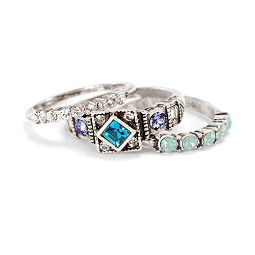 Sweet Romance Inspirational Silver Swarovski Crystal Boho Longevity Stack Rings - Set of 3 Stacking Rings