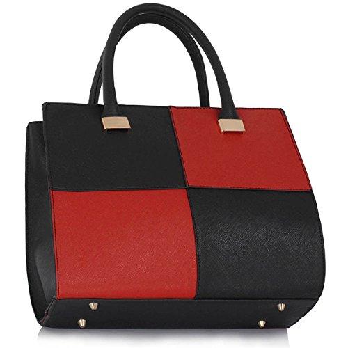 Xardi London–las mujeres bolsas de hombro bolsos de piel estilo señoras niñas Colegio Bolsa A4 negro/ rojo