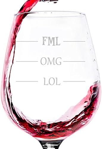 LOL OMG FML Funny Wine Glass Christmas product image