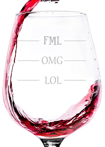 LOL OMG FML Funny Wine Glass - Best Birthday Gag Gifts For Women, Men - Unique Xmas Gift For Him, Her - Cool Bday Idea From Husband, Wife, Son or Daughter - Fun Novelty Gift For Friends, Sister