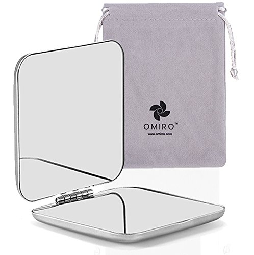 "Small Mirror, Unbreakable Folding All Stainless Steel Rectangular for Pocket, 2.2"" Square, Dull Polished ()"