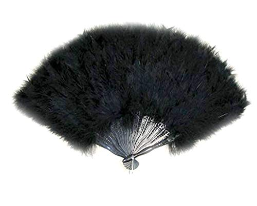 - SACASUSA (TM) Large Black Feather Hand Fan New