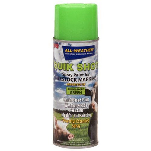 (All-Weather 61116 Quik Shot Inverted Tip Spray Paint for Livestock Marking, Fluorescent Green)
