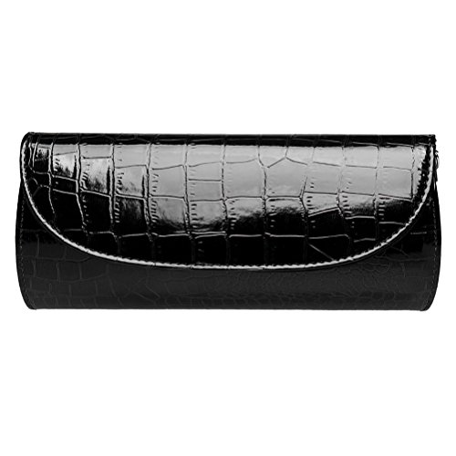 BaoLan Evening Clutch, Womens Croc Skin Embossed Clutch Purses For Party And Wedding Black ()