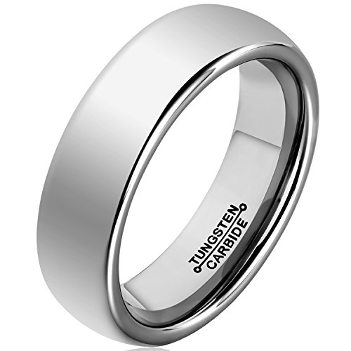 (MNH Tungsten Carbide Men 6mm Wedding Engagement Band Polished Comfort Fit Domed Metal Ring, Size 9.5)
