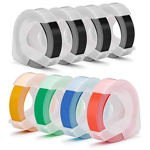 8-Pack Embossing Labels, Compatible Dymo 3D Plastic Embossed Tapes White on Black Red/Blue/Green/Yellow, 3/8 inch(9mm) x 9.8 feet for DYMO Office-Mate II 154000, Dymo Organizer Xpress