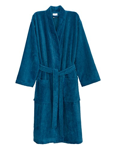 TowelSelections Men's Robe, Fleece Cotton, Terry-Lined Water Absorbent Bathrobe Medium/Large Deep Water Fleece Lined Water