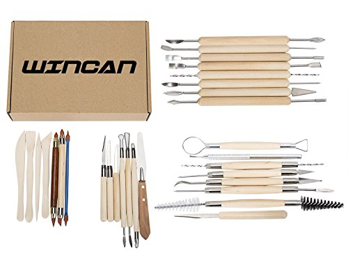 Wincan 30Pcs Clay Sculpting Tools Pottery Carving Tool Set   Includes Clay Color Shapers  Modeling Tools   Wooden Sculpture Knife