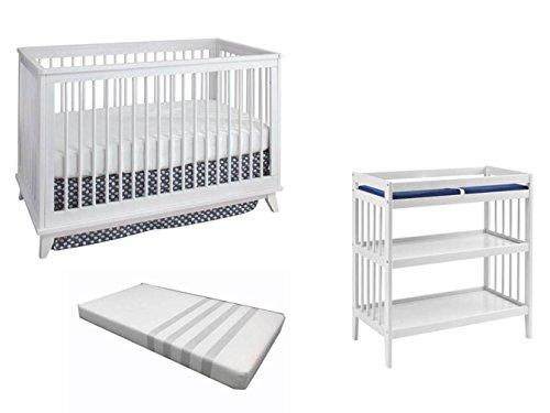 Westwood Echo 3 in 1 Crib Changer and Mattress Set, White