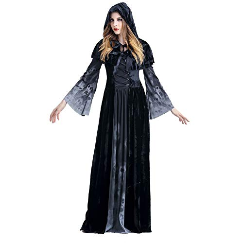Dora Bridal Halloween Costume Dress for Women Cosplay Witch Skull Vampire Apparel with Hat ()