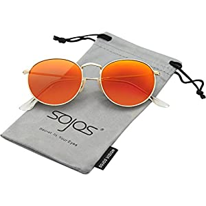 SojoS Small Round Polarized Sunglasses Mirrored Lens Unisex Glasses SJ1014 3447 With Gold Frame/Orange Mirrored Lens